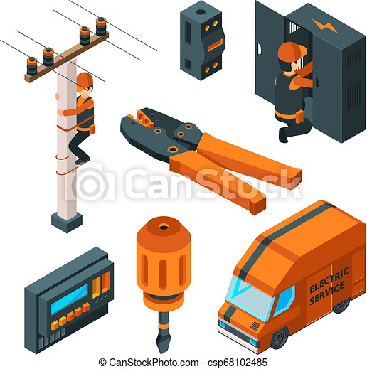 Electrical systems 3d. Electricity box switch electrician safety worker with power tools vector isometric - csp68102485