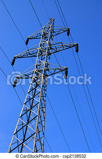 Electrical tower on a background of the blue sky - csp2138532