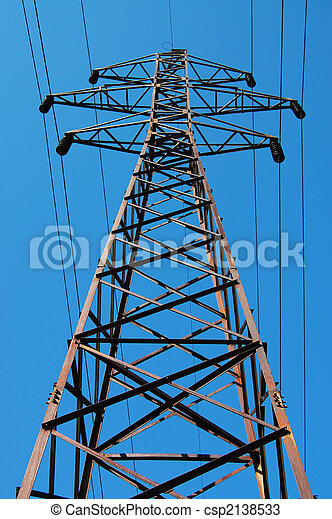 Electrical tower on a background of the blue sky - csp2138533