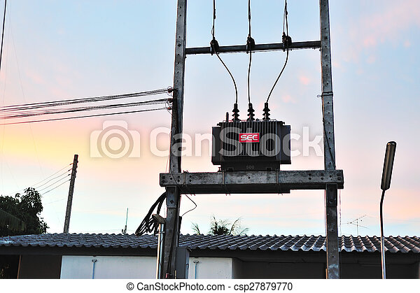 electrical transformer in data room - csp27879770