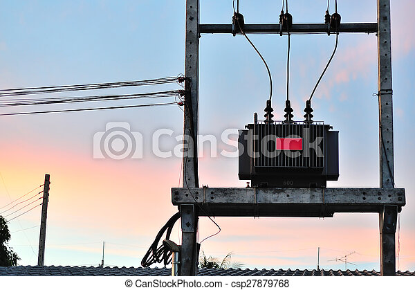 electrical transformer in data room - csp27879768