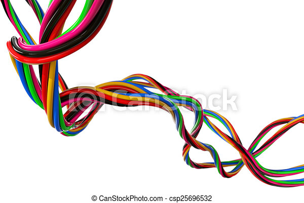 Electrical wires. Coloured electrical wires isolated on white.