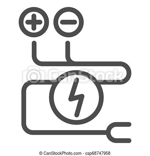 Electrical Wiring Line Icon Cable Vector Illustration Isolated On White Electrical Cord Outline Style Design Designed For