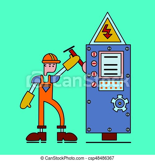Electrician at work, man in working uniform turns on the switch of power voltage. Electric services. Vector flat illustration. - csp48486367