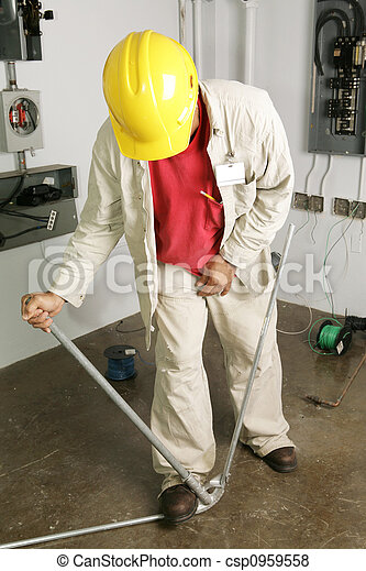 Electrician Bends Pipe - csp0959558