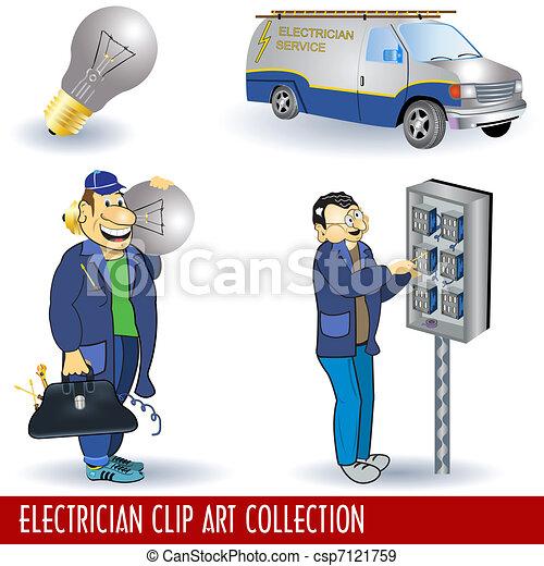 Electrician Clip Art Collection - csp7121759