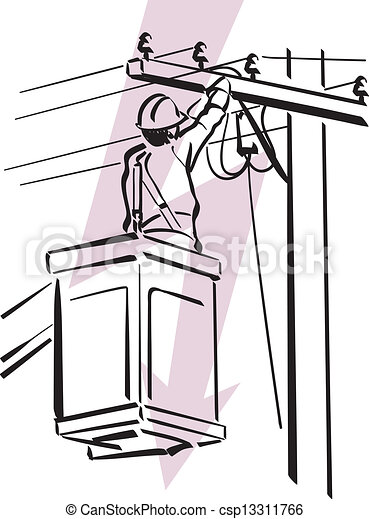 Illustration Of An Electrician At Work Clip Art Vector