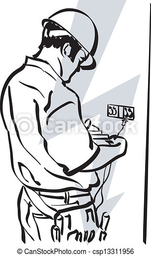Illustration Of An Electrician At Work Clipart Vector
