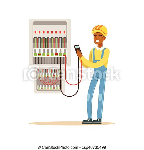 electrician engineer measuring the voltage output in fuse box, electric man  performing electrical