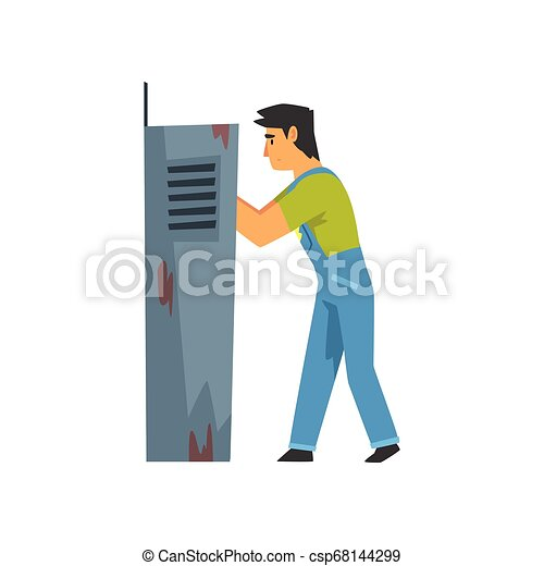 Electrician Engineer Repairing Equipment in Fuse Box, Electric Man Character in Blue Overalls Vector Illustration - csp68144299