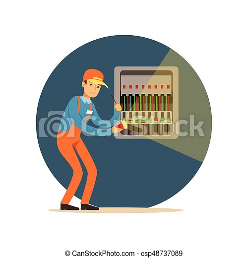 Electrician engineer repairing equipment in fuse box with flashlight, electric man performing electrical works vector Illustration - csp48737089