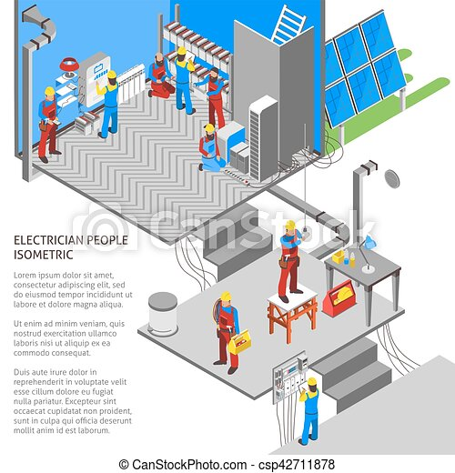 Electrician Isometric Composition - csp42711878