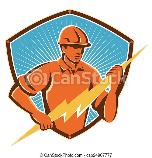 electrician-lghtning-bolt-shield-front - csp24907777