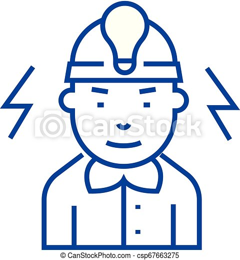 Electrician line icon concept. Electrician flat vector symbol, sign, outline illustration. - csp67663275