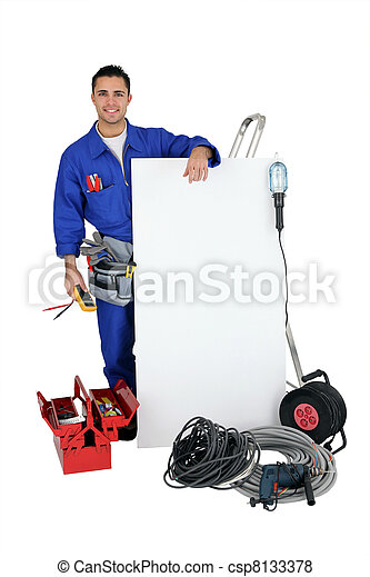 Electrician on white background - csp8133378