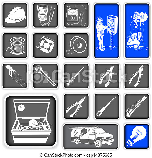 electrician squared icons - csp14375685