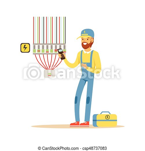 Electrician testing electrical equipment, measuring the voltage output, electric man performing electrical works vector Illustration - csp48737083