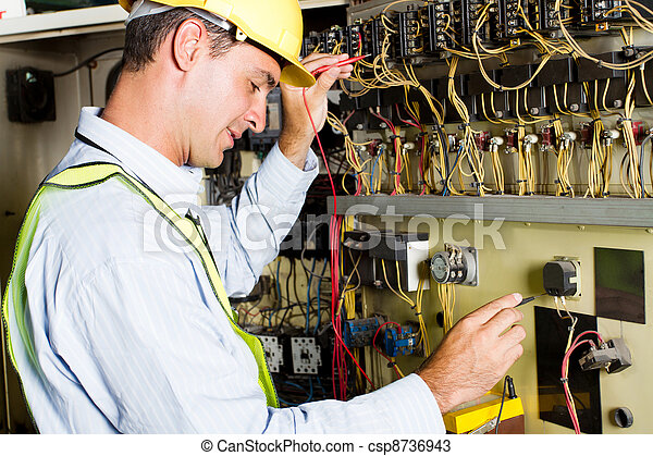 electrician testing industrial machine - csp8736943