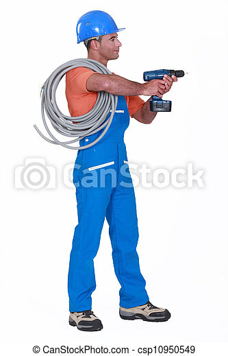 Electrician with a drill - csp10950549