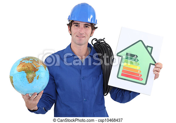 Electrician with a globe and an energy rating sign - csp10468437