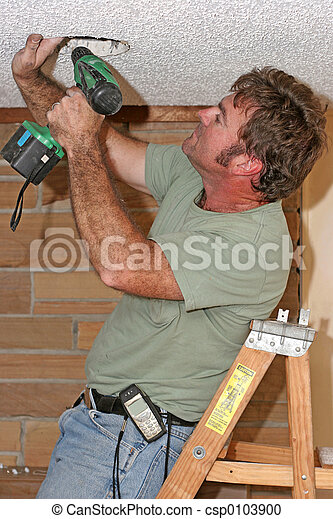 Electrician With Drill - csp0103900