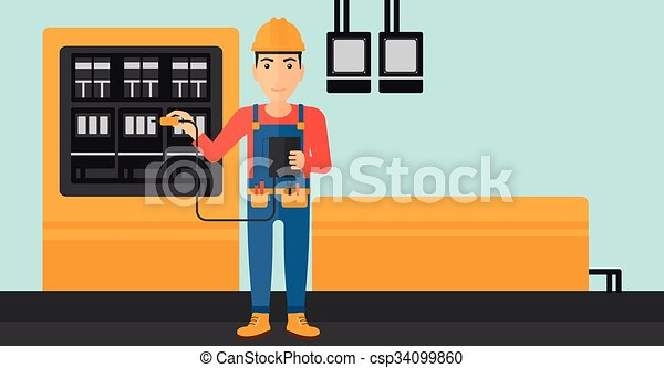 Electrician with electrical equipment. - csp34099860