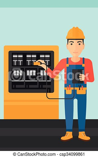 Electrician with electrical equipment. - csp34099861
