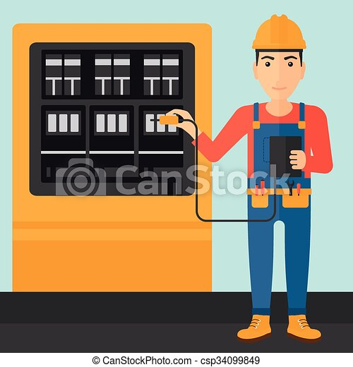 Electrician with electrical equipment. - csp34099849