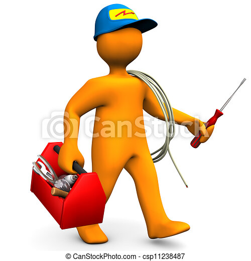 Electrician With Toolbox And Cord - csp11238487