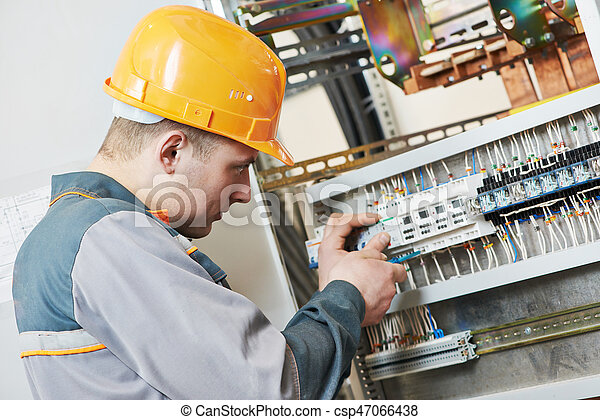 electrician works with electric meter tester in fuse box rh canstockphoto com Electrical Fuses Types Fuses and Circuit Breakers