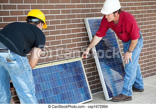 Electricians Measure Solar Panels - csp1672994