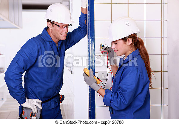 electricians taking measurements - csp8120788
