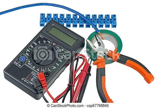 Electricians Tools Tools For Home Electrical Repair On White Background