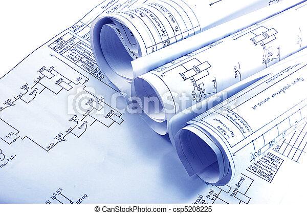 electricidad, cianotipo, ingeniería, rollos - csp5208225
