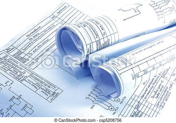 electricidad, cianotipo, ingeniería, rollos - csp5208756