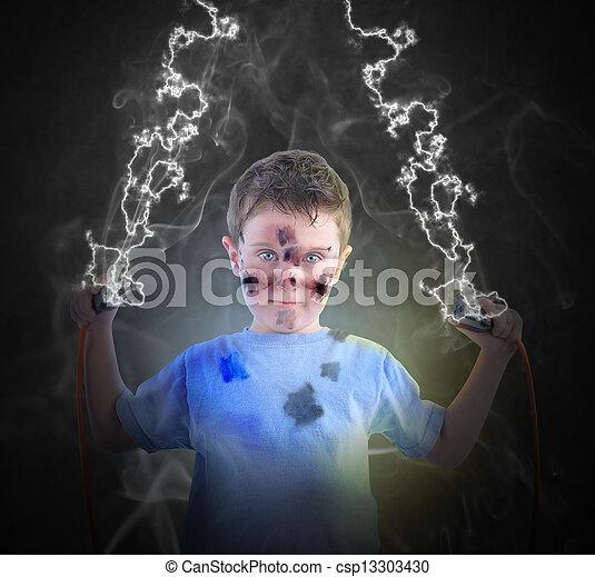Chico de ciencias eléctricas con tapones - csp13303430