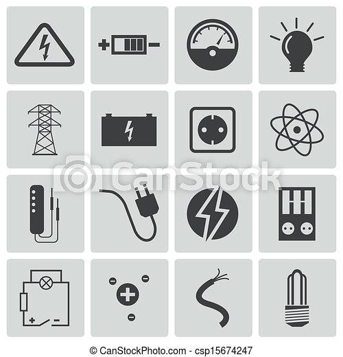 Iconos de electricidad negra Vector - csp15674247