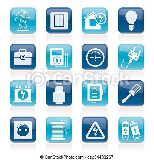 Energía, energía y iconos eléctricos - csp34483267