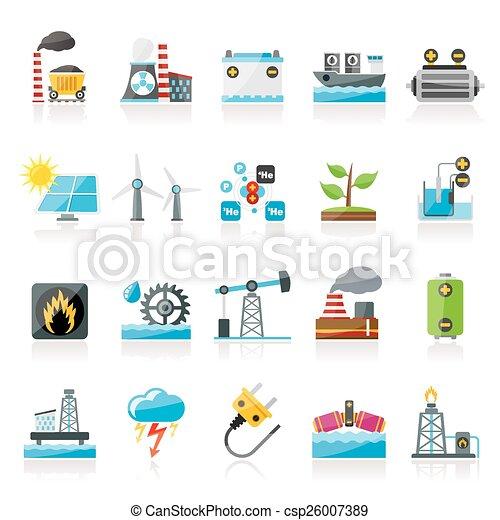 Electricidad y fuentes de energía iconos - csp26007389