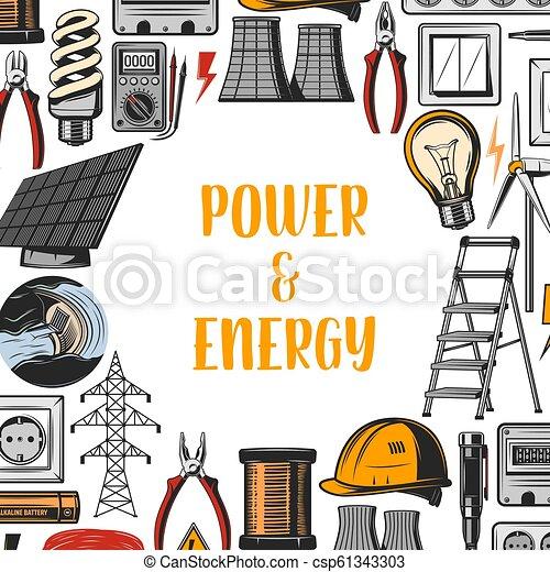 Energía, vector de electricidad industrial - csp61343303
