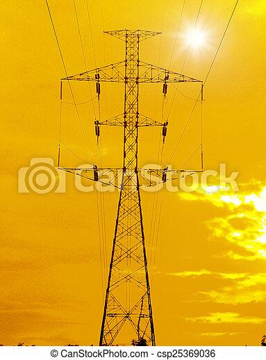 Pilones eléctricos al atardecer - csp25369036