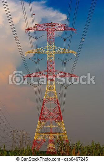 Pilones de electricidad al atardecer - csp6467245