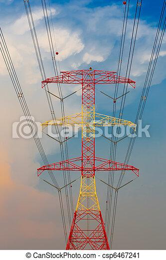 Pilones de electricidad al atardecer - csp6467241