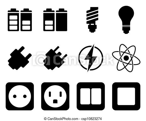 electricidade, energia, jogo, ícone - csp10823274