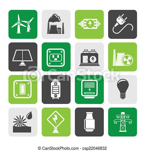 electricidade, energia, poder, ícones - csp22046832
