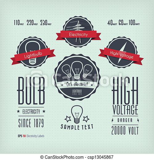 electricidade, etiquetas - csp13045867