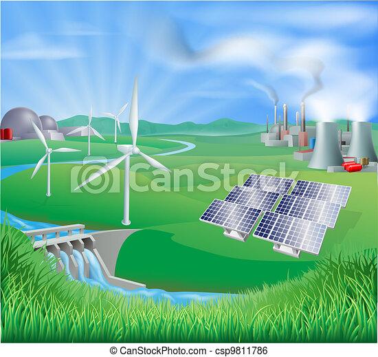 electricidade, geração, ou, poder, encontrado - csp9811786