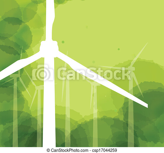electricidade, vetorial, geradores, vento, fundo - csp17044259