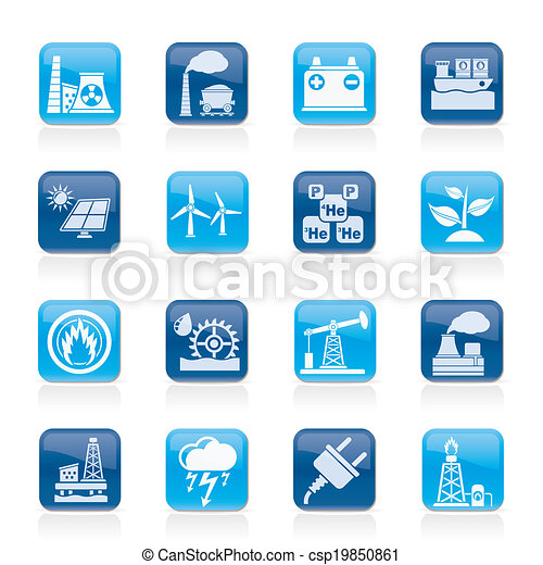 Electricity and Energy source icons - csp19850861