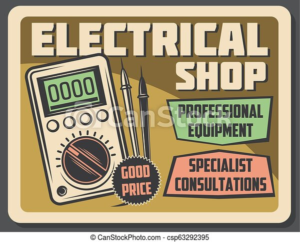Electricity And Voltmeter Device Vector Poster
